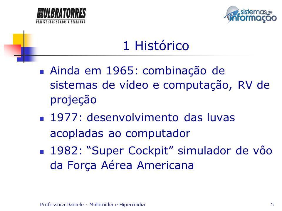 1 Histórico Ainda em 1965: combinação de sistemas de vídeo e computação, RV de projeção. 1977: desenvolvimento das luvas acopladas ao computador.