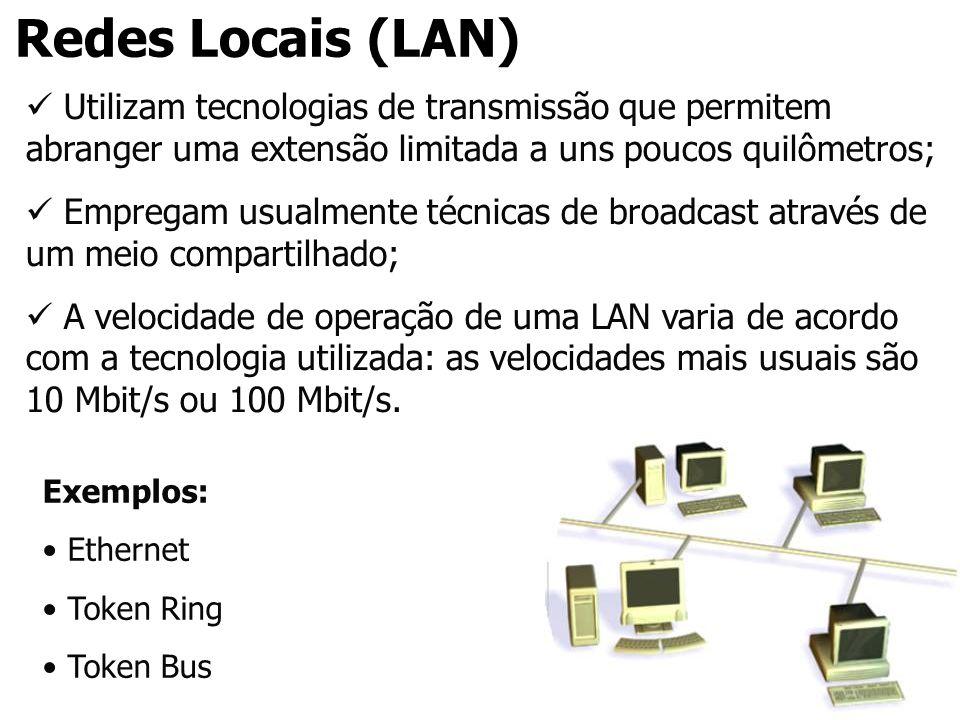 Redes Locais (LAN) Utilizam tecnologias de transmissão que permitem abranger uma extensão limitada a uns poucos quilômetros;
