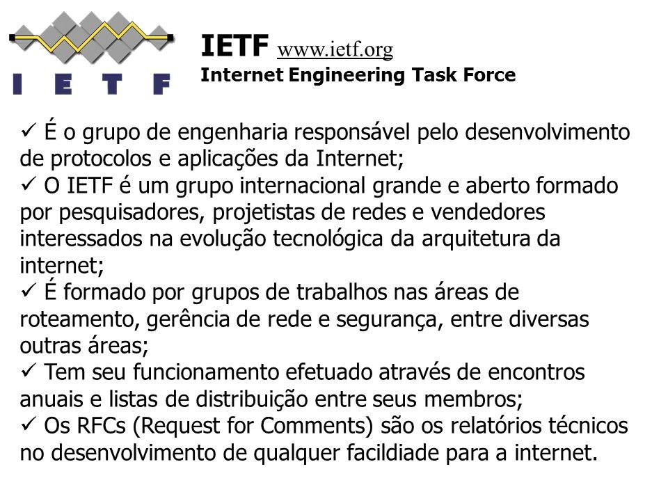 IETF www.ietf.org Internet Engineering Task Force. É o grupo de engenharia responsável pelo desenvolvimento de protocolos e aplicações da Internet;