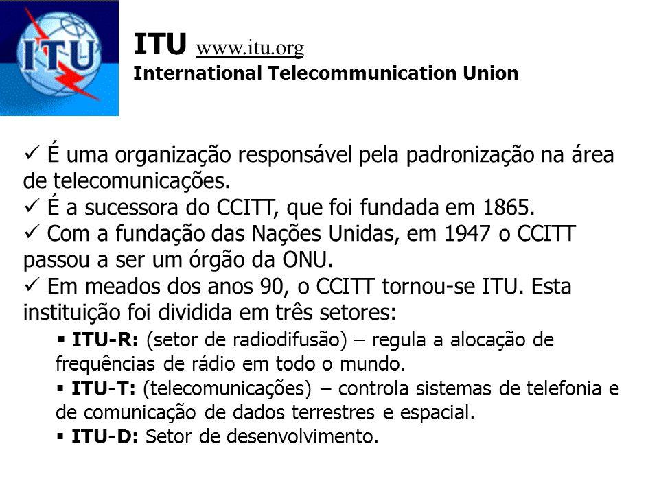 ITU www.itu.org International Telecommunication Union. É uma organização responsável pela padronização na área de telecomunicações.