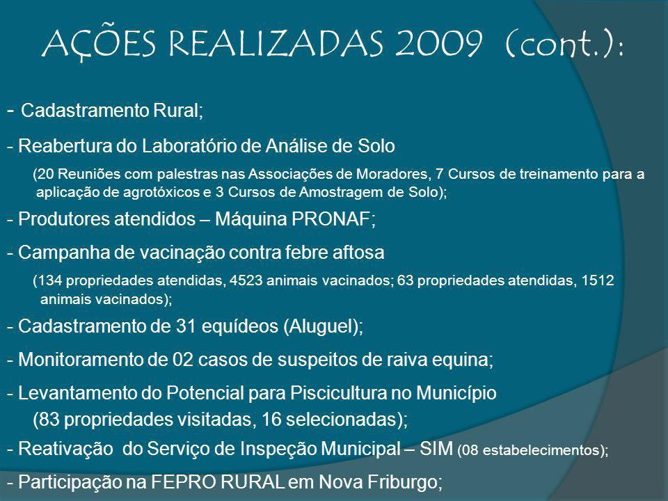 AÇÕES REALIZADAS 2009 (cont.):
