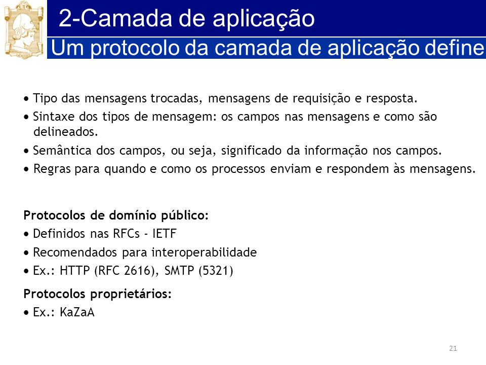 2-Camada de aplicação Um protocolo da camada de aplicação define: