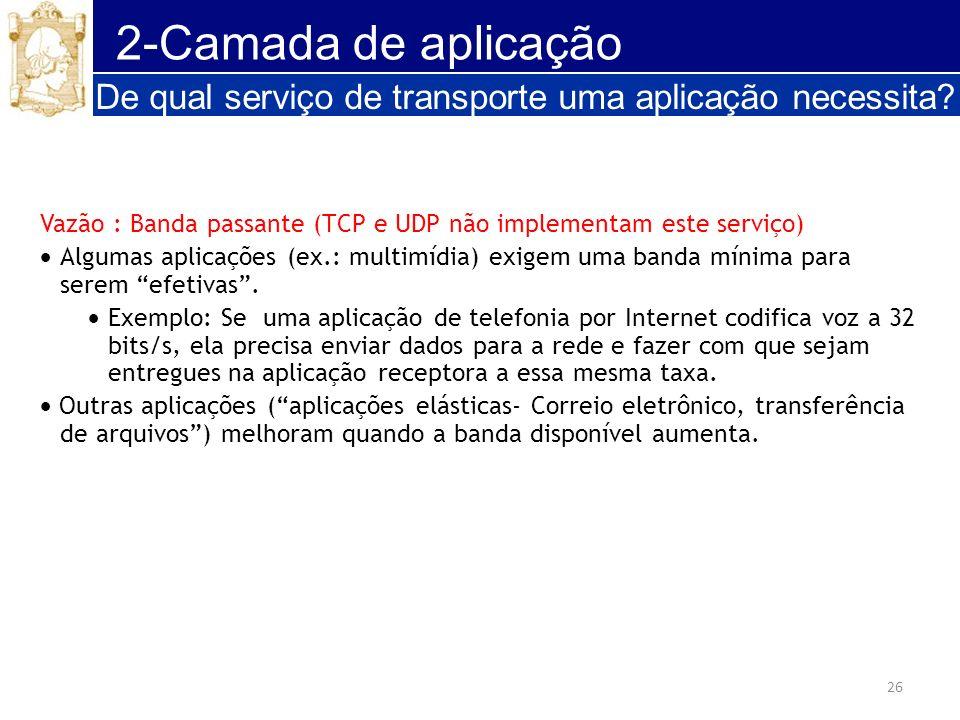 2-Camada de aplicação De qual serviço de transporte uma aplicação necessita Vazão : Banda passante (TCP e UDP não implementam este serviço)