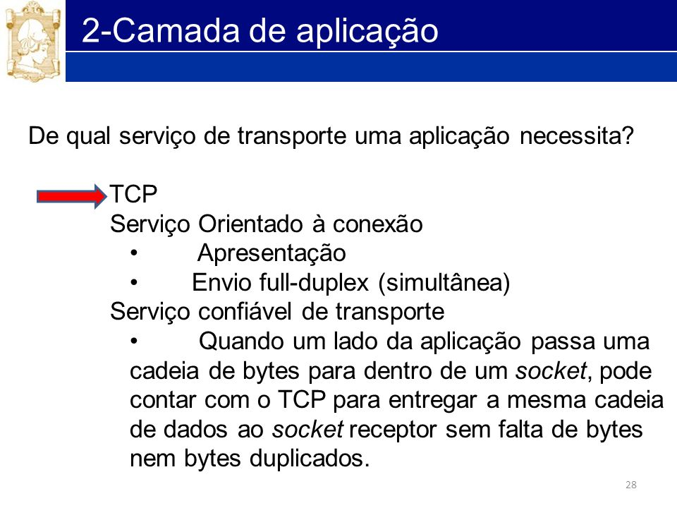 2-Camada de aplicação De qual serviço de transporte uma aplicação necessita TCP. Serviço Orientado à conexão.