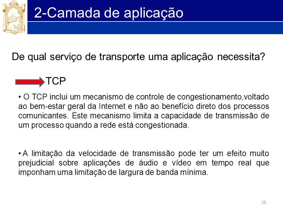 2-Camada de aplicação De qual serviço de transporte uma aplicação necessita TCP.