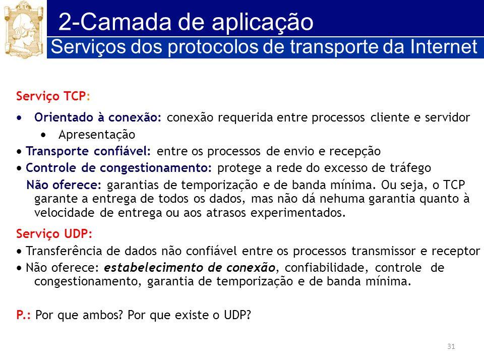 2-Camada de aplicação Serviços dos protocolos de transporte da Internet. Serviço TCP: