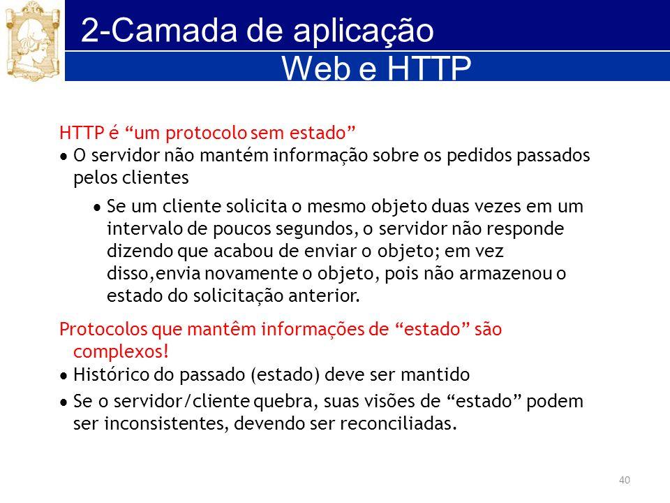 2-Camada de aplicação Web e HTTP HTTP é um protocolo sem estado
