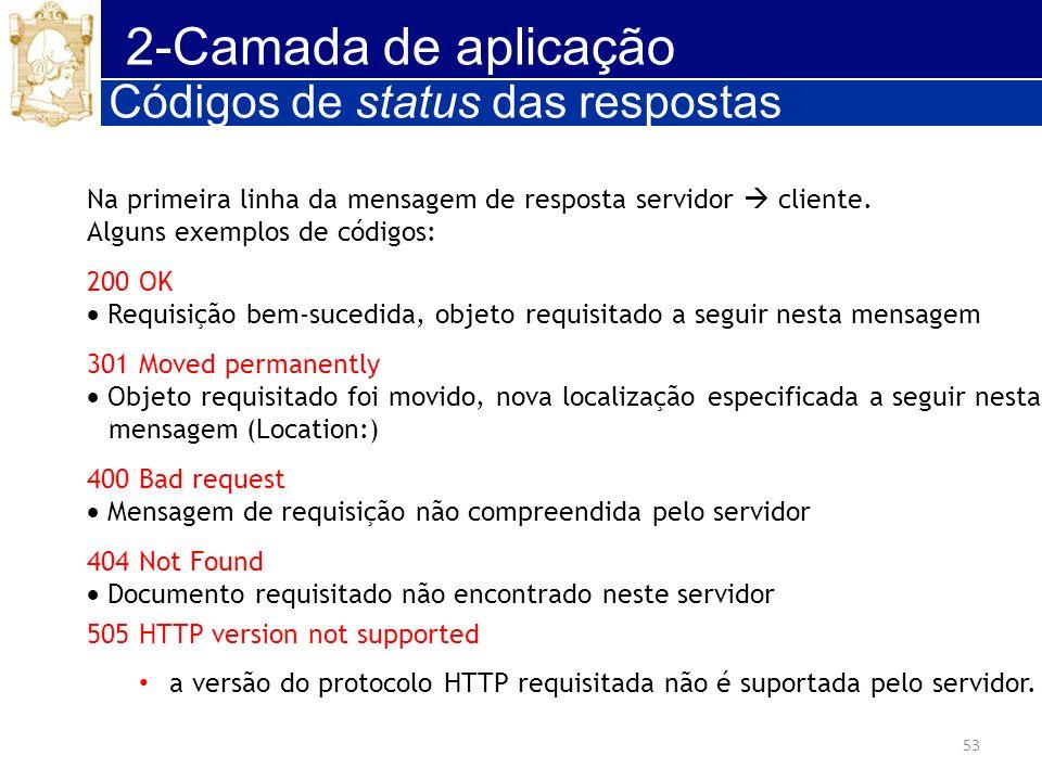2-Camada de aplicação Códigos de status das respostas