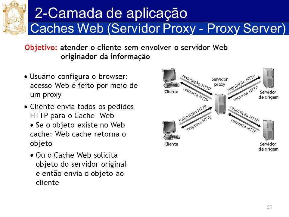 2-Camada de aplicação Caches Web (Servidor Proxy - Proxy Server)