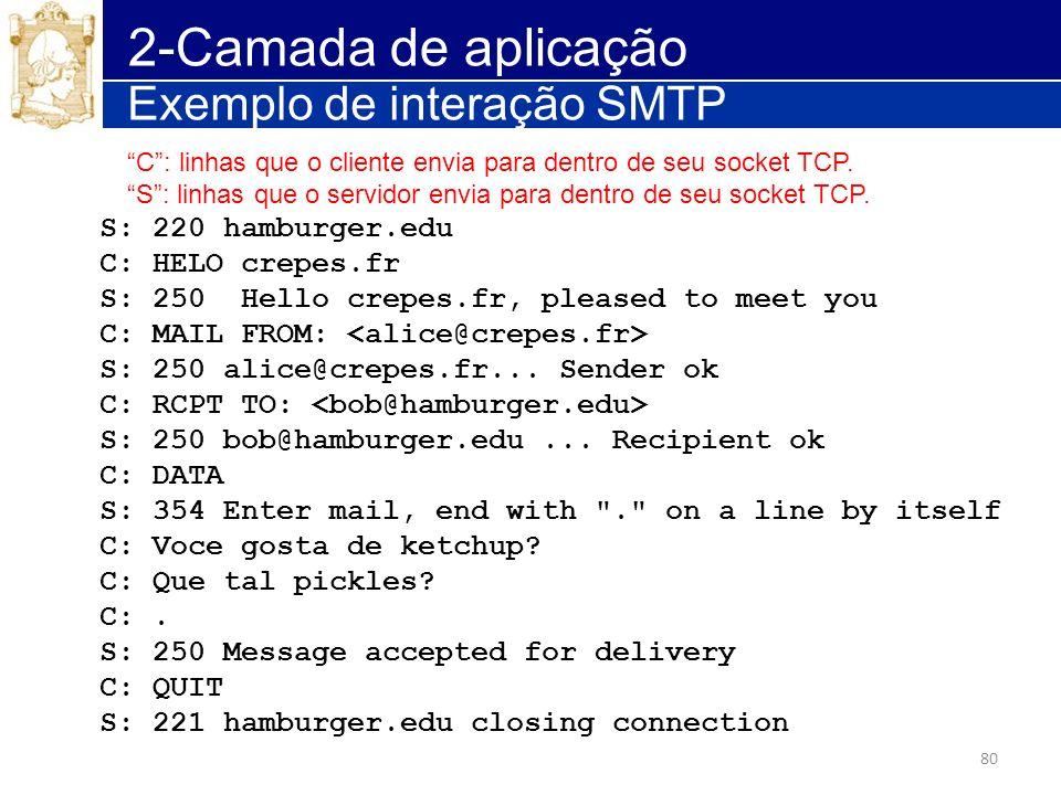 2-Camada de aplicação Exemplo de interação SMTP S: 220 hamburger.edu