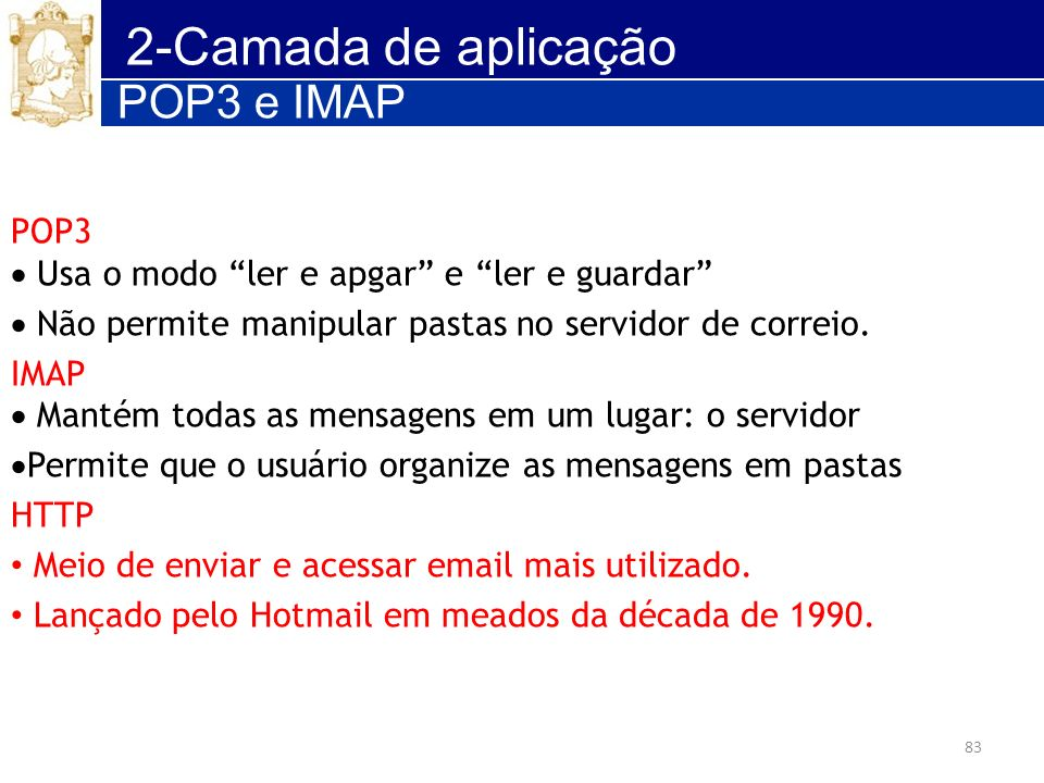 2-Camada de aplicação POP3 e IMAP POP3