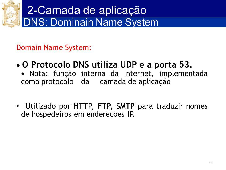 2-Camada de aplicação DNS: Dominain Name System Domain Name System: