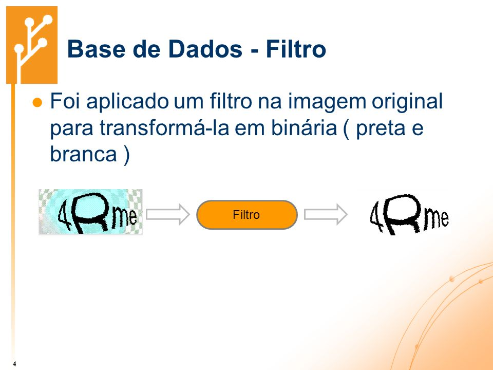 Base de Dados - Filtro Foi aplicado um filtro na imagem original para transformá-la em binária ( preta e branca )