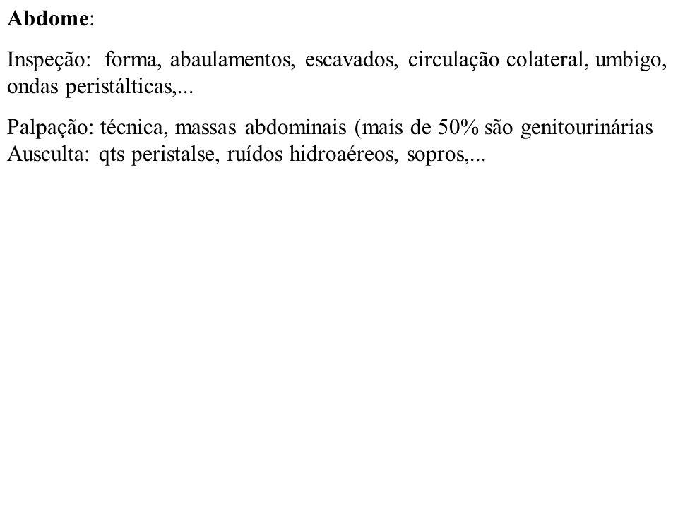 Abdome:Inspeção: forma, abaulamentos, escavados, circulação colateral, umbigo, ondas peristálticas,...