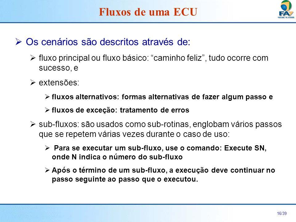 Fluxos de uma ECU Os cenários são descritos através de: