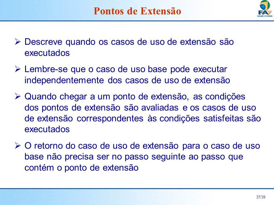 Pontos de Extensão Descreve quando os casos de uso de extensão são executados.