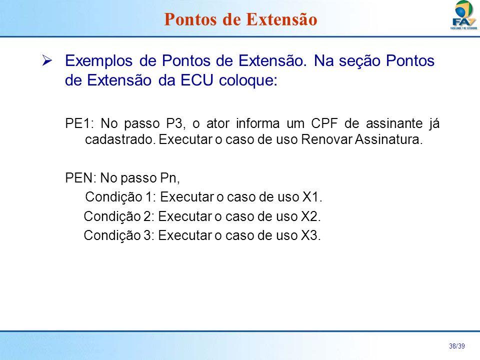 Pontos de Extensão Exemplos de Pontos de Extensão. Na seção Pontos de Extensão da ECU coloque: