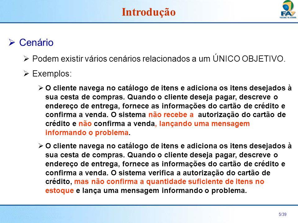 Introdução Cenário. Podem existir vários cenários relacionados a um ÚNICO OBJETIVO. Exemplos:
