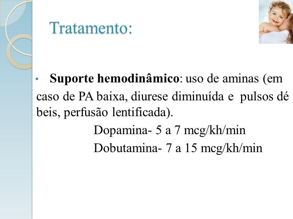 Tratamento: Suporte hemodinâmico: uso de aminas (em