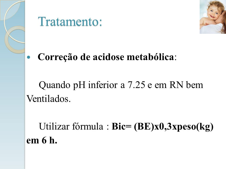 Tratamento: Correção de acidose metabólica: