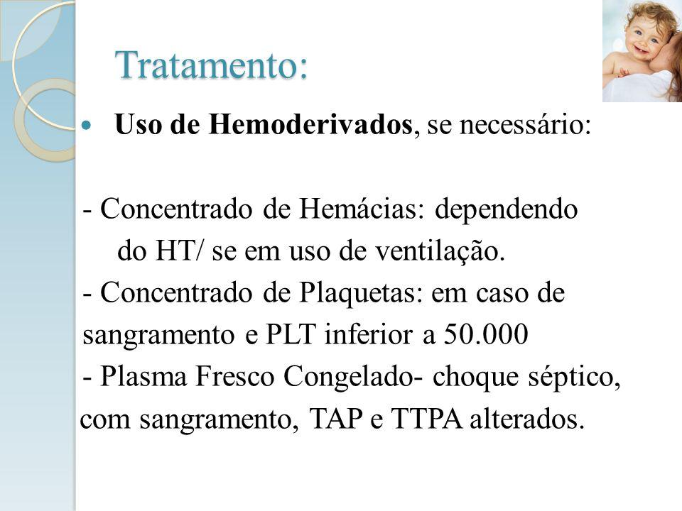 Tratamento: Uso de Hemoderivados, se necessário: