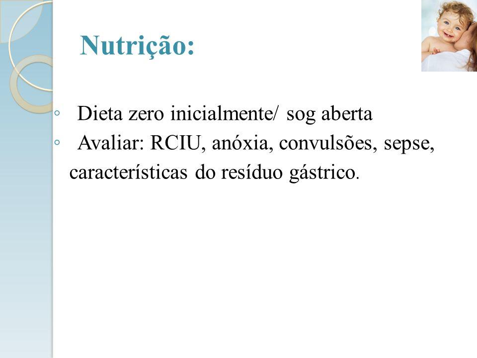 Nutrição: Dieta zero inicialmente/ sog aberta