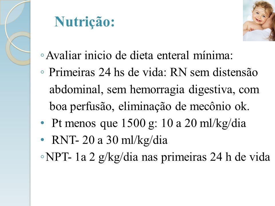 Nutrição: Avaliar inicio de dieta enteral mínima: