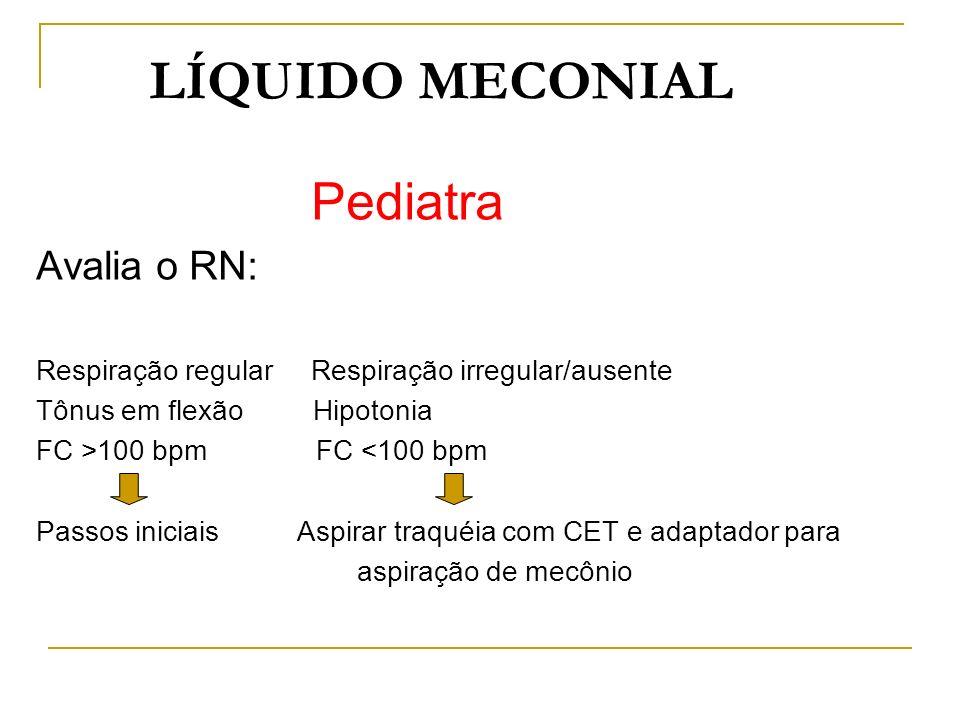 LÍQUIDO MECONIAL Pediatra Avalia o RN: