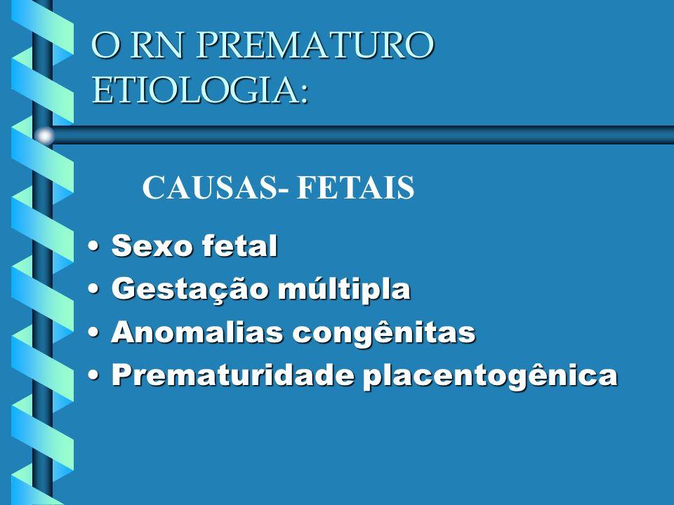 O RN PREMATURO ETIOLOGIA: