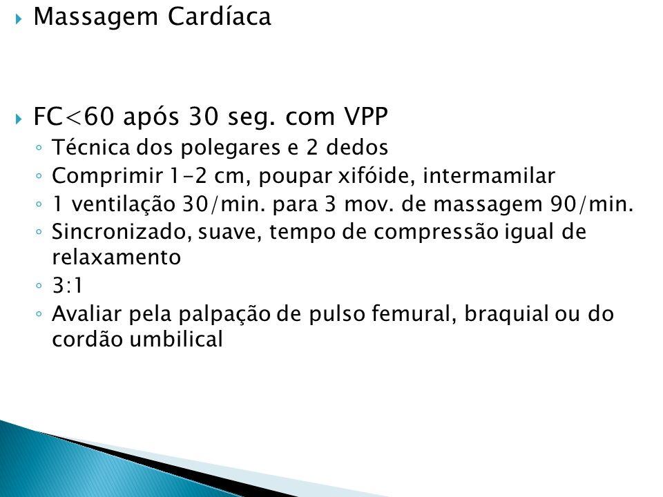 Massagem Cardíaca FC<60 após 30 seg. com VPP