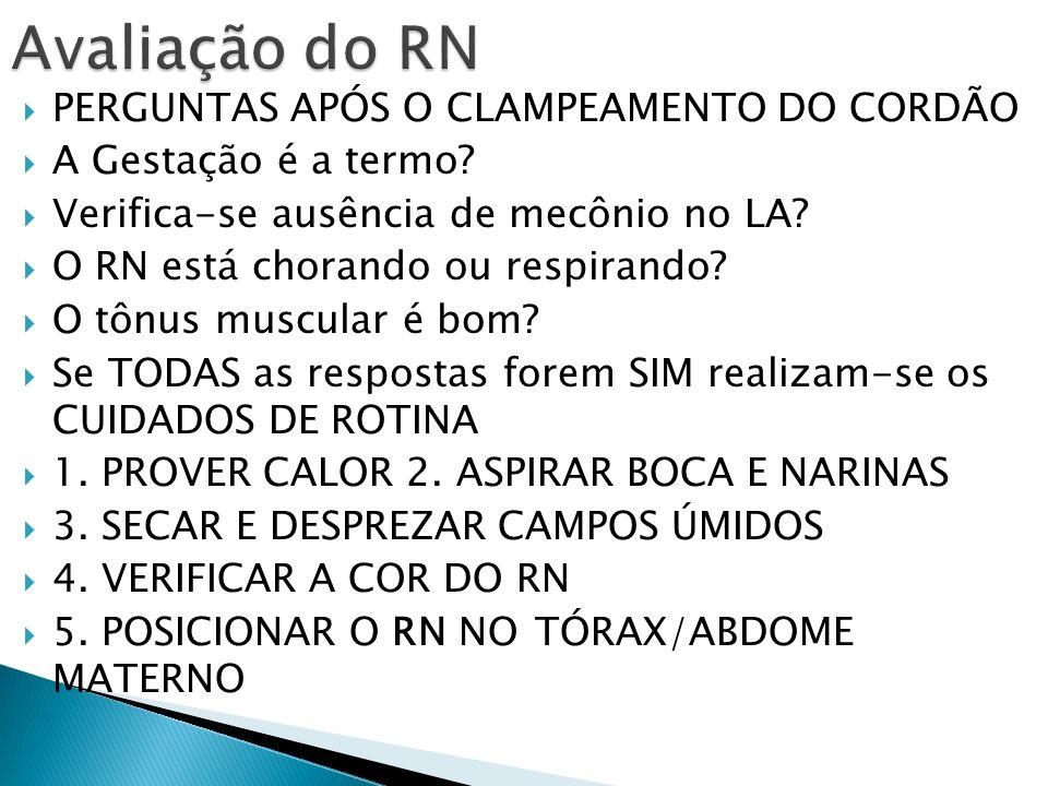 Avaliação do RN PERGUNTAS APÓS O CLAMPEAMENTO DO CORDÃO