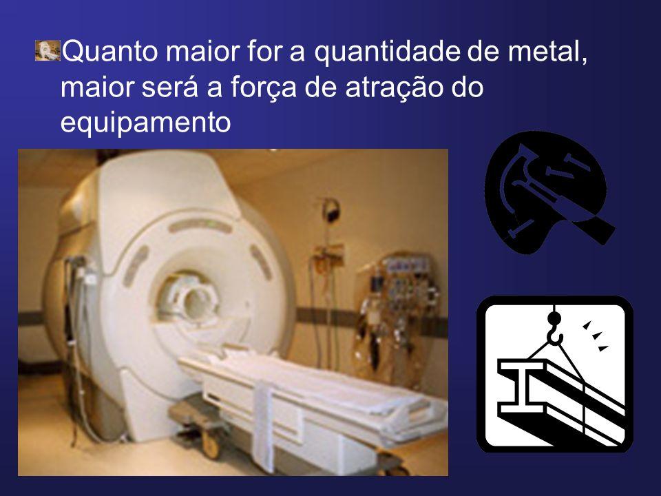 Quanto maior for a quantidade de metal, maior será a força de atração do equipamento