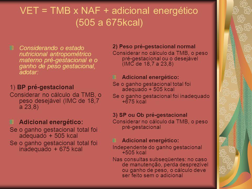 VET = TMB x NAF + adicional energético (505 a 675kcal)