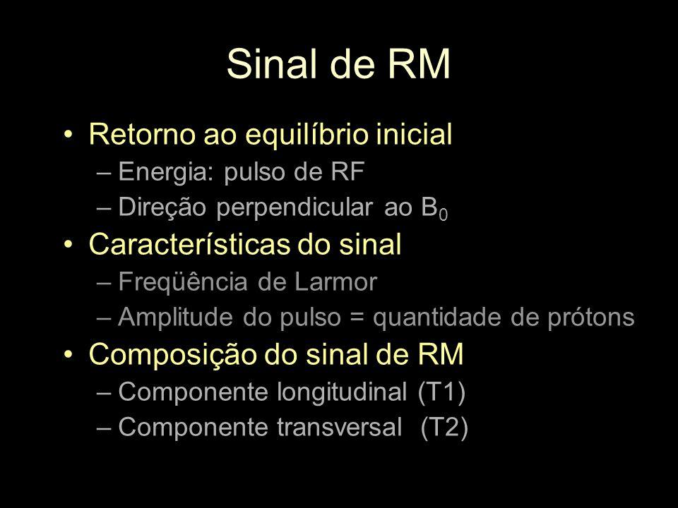 Sinal de RM Retorno ao equilíbrio inicial Características do sinal