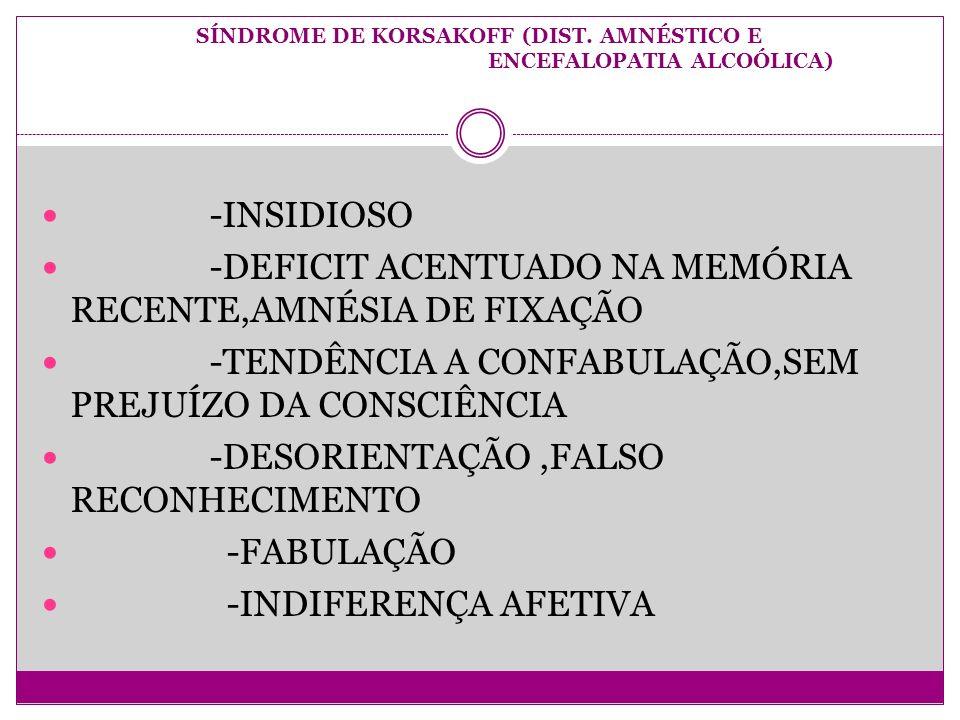 SÍNDROME DE KORSAKOFF (DIST. AMNÉSTICO E ENCEFALOPATIA ALCOÓLICA)