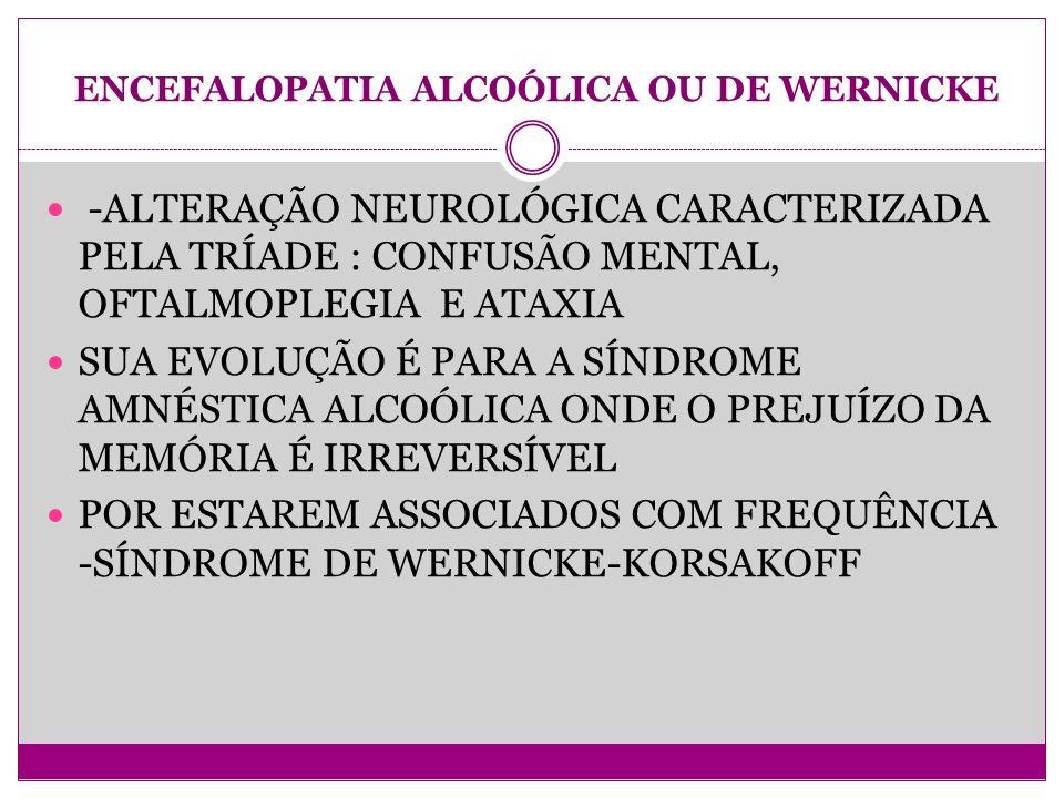 ENCEFALOPATIA ALCOÓLICA OU DE WERNICKE