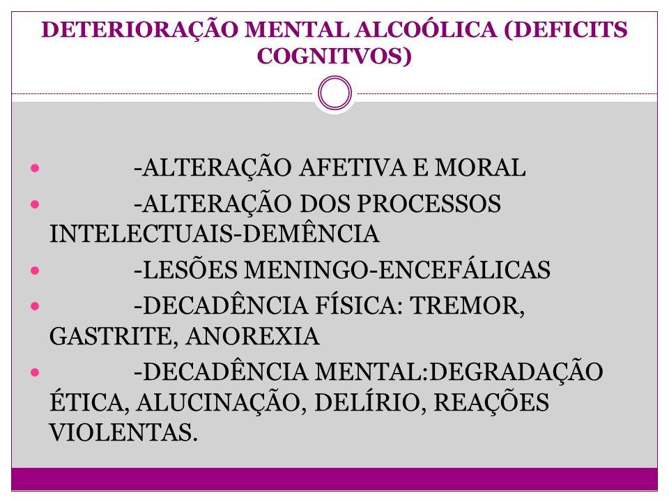 DETERIORAÇÃO MENTAL ALCOÓLICA (DEFICITS COGNITVOS)
