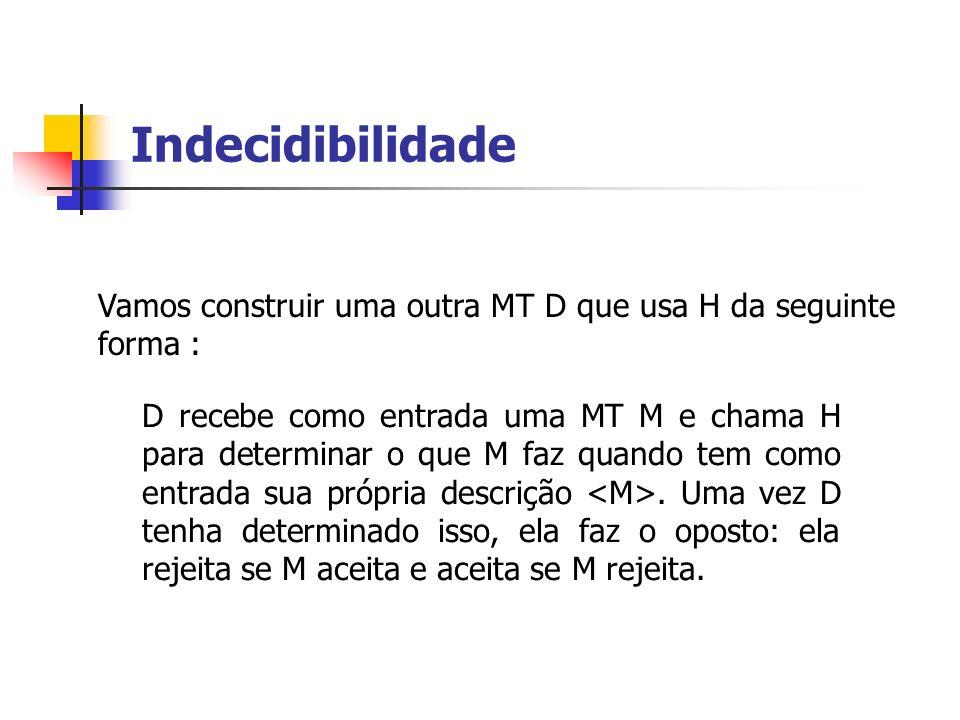 Indecidibilidade Vamos construir uma outra MT D que usa H da seguinte forma :