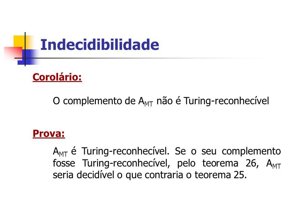 Indecidibilidade Corolário: