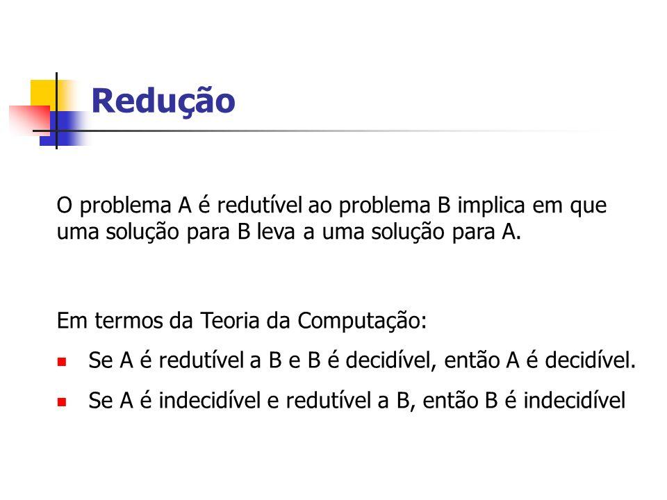 ReduçãoO problema A é redutível ao problema B implica em que uma solução para B leva a uma solução para A.