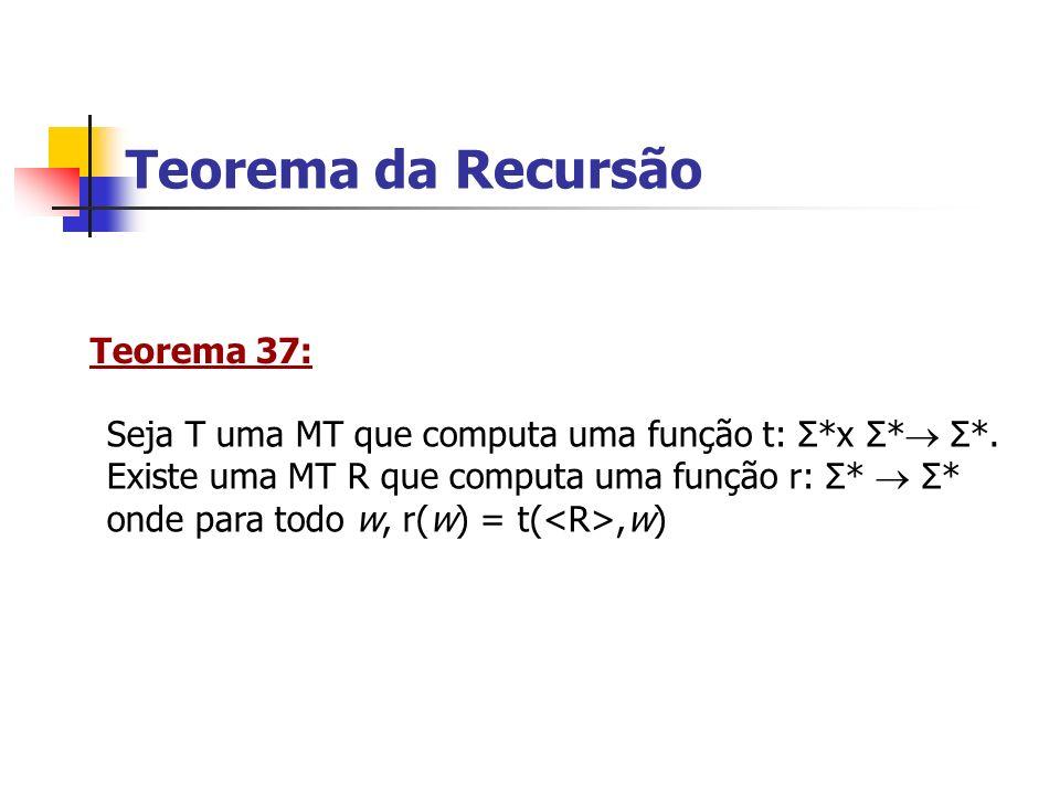 Teorema da Recursão Teorema 37:
