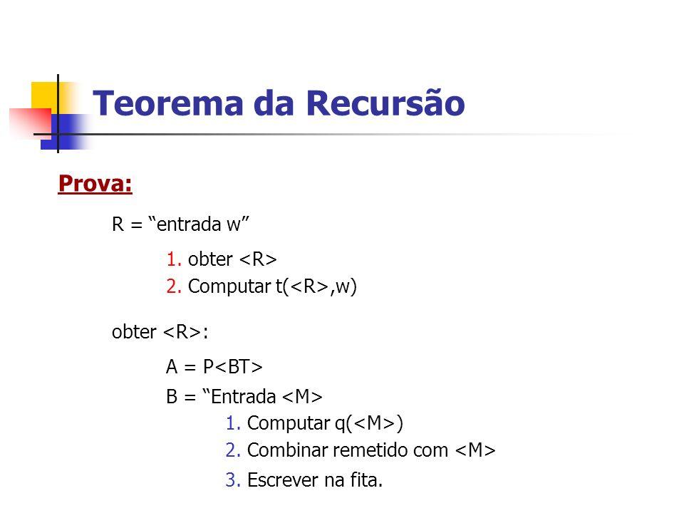 Teorema da Recursão Prova: R = entrada w 1. obter <R>