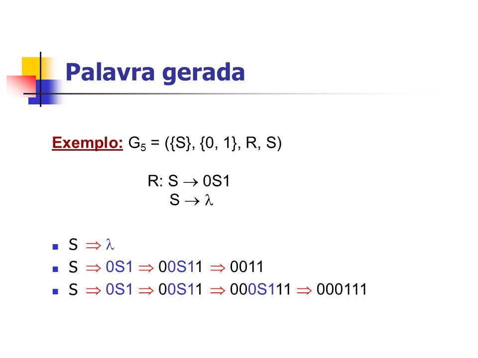 Palavra gerada Exemplo: G5 = ({S}, {0, 1}, R, S) R: S  0S1 S   S