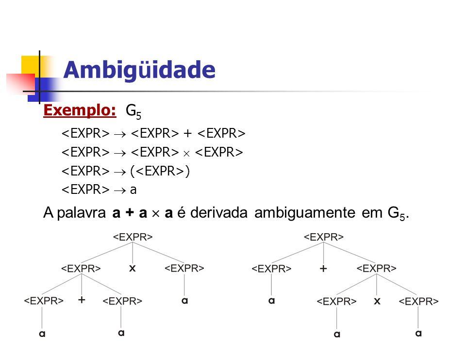 Ambigüidade Exemplo: G5 <EXPR>  <EXPR> + <EXPR>