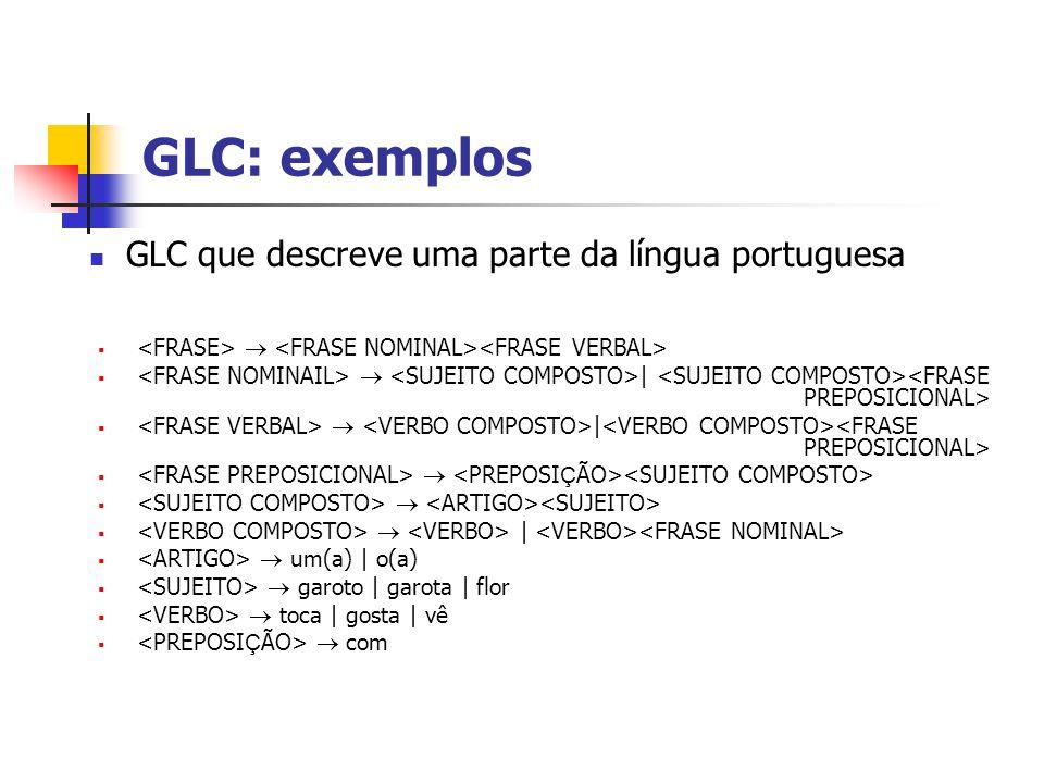 GLC: exemplos GLC que descreve uma parte da língua portuguesa