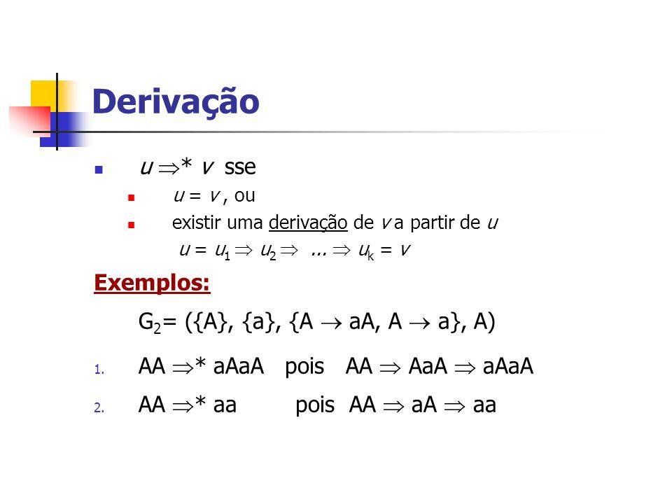 Derivação u * v sse Exemplos: G2= ({A}, {a}, {A  aA, A  a}, A)