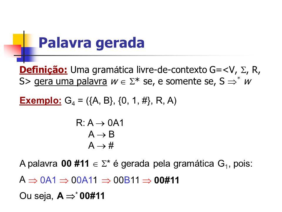 Palavra gerada Definição: Uma gramática livre-de-contexto G=<V, , R, S> gera uma palavra w  * se, e somente se, S * w.