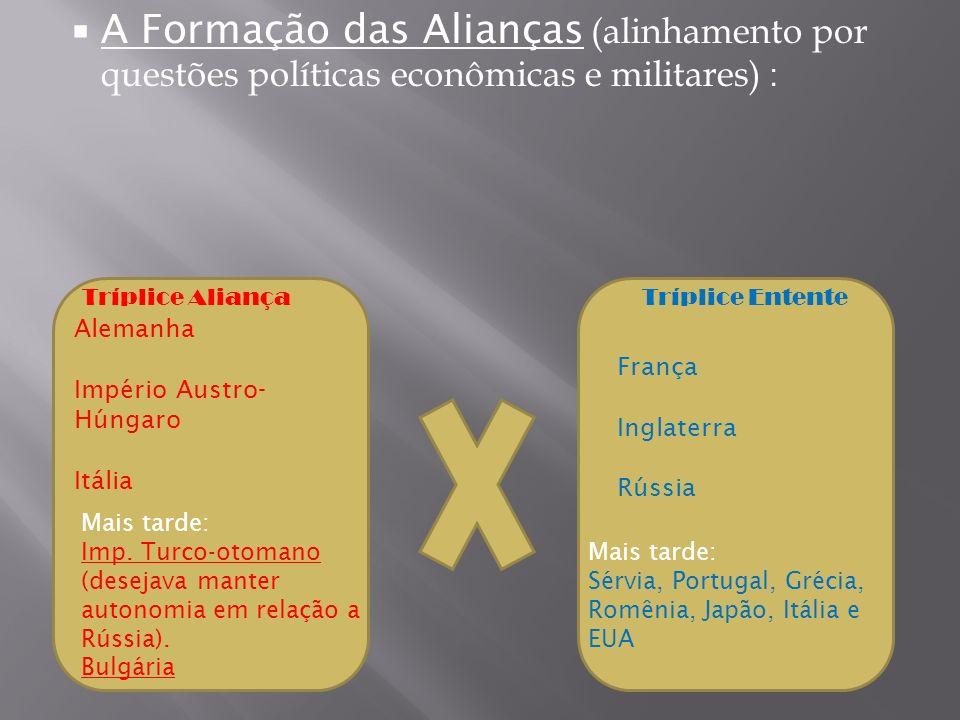 A Formação das Alianças (alinhamento por questões políticas econômicas e militares) :