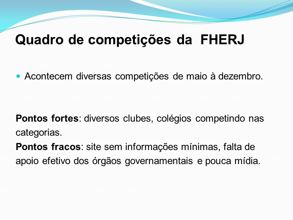 Quadro de competições da FHERJ