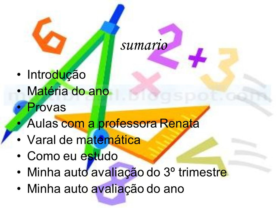sumario Introdução Matéria do ano Provas Aulas com a professora Renata